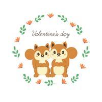 Felice giorno di San Valentino biglietto di auguri con scoiattoli carini in amore.