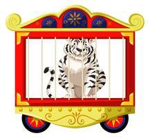 Tigre bianca nella gabbia del circo
