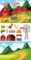 Due scene con diversi elementi della fattoria vettore