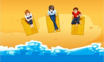 Persone che si rilassano sulla spiaggia vettore