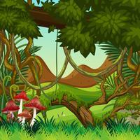 Scena di sfondo naturale giungla vettore