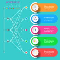 Cinque etichette con infografica icona aziendale. vettore