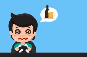 Cartoni animati di persone ubriache, assonnate, usa il telefono mentre guidi Life threatening. vettore