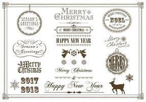 Pacchetto di vettore etichetta Natale e vacanze