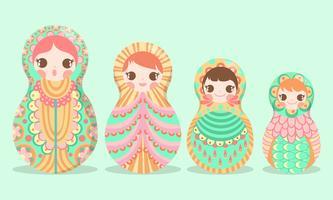 Russo russo di Matryoshka della bambola di arte - illustrazione di vettore -