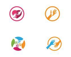 Icone del modello di logo e simboli di aiuto della mano vettore