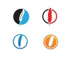 Feather penna scrivere segno logo modello app vettore