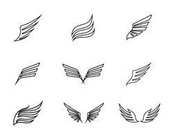 Logo aziendale ala e modello di business simbolo vettore