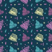 Modello disegnato a mano di buon compleanno Fondo con colore pastello