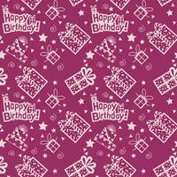Modello disegnato a mano di buon compleanno Sfondo con colore viola