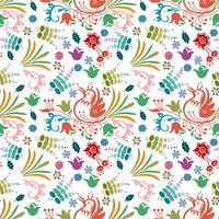 disegnato a mano di sfondo colorato motivo floreale bellissimo uccello vettore