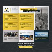 Brochure aziendale pieghevole giallo a tre ante vettore