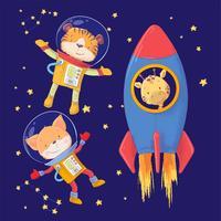 Illustrazione disegnata a mano della mano di stile della volpe della tigre e della giraffa degli astronauti degli animali dell'illustrazione sveglia del fumetto.