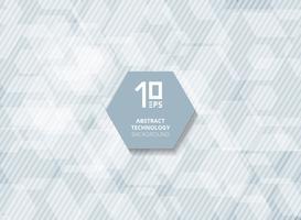 Tecnologia astratta futuristica sovrapposizione di esagoni bianchi con linee a strisce in diagonale su sfondo blu.