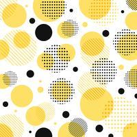 Modello astratto moderno giallo, nero punti con linee in diagonale su sfondo bianco.
