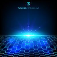 Visualizzazione di dati wireframe futuristico della rete blu astratta del cavo di tecnologia