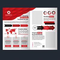 Brochure pieghevole aziendale rossa vettore