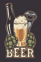 Illustrazione vettoriale con una bottiglia di birra e coni di luppolo.