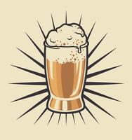 Illustrazione a colori di un bicchiere di birra vettore