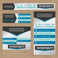 Collezione di banner pubblicitari blu vettore