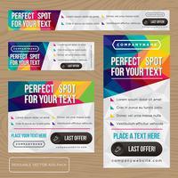 Collezione di banner pubblicitari colorati low poly vettore