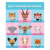 Raccolta di ritratti di animali in via di estinzione vettore