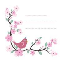 Modello di blocco note adorabile con disegno di uccelli e fiori