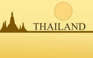 Progettazione stupefacente di colore dell'oro del tempio del wat arun di turismo della Tailandia per il vettore dell'insegna. Illustrazione grafica del segno di arte tailandese.