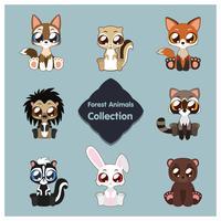 Collezione di simpatici animali del bosco