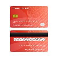 Parte anteriore e parte posteriore rosse della carta di credito isolate su fondo bianco. concetto di illustrazione vettoriale. design per il pagamento dello shopping aziendale. vettore