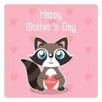 Illustrazione di festa della mamma con procione carino in possesso di un cuore vettore