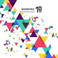 Astratti colorati e creativi triangoli geometrici sovrapposti moderni su sfondo bianco.
