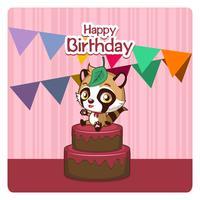Auguri di compleanno carino con un cane raccon vettore