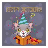 Biglietto di auguri di compleanno con gatto grigio carino vettore