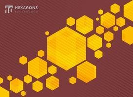 Esagoni geometrici astratti sfondo giallo con linee a strisce marroni.