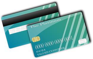 Verde della carta di credito Parte anteriore e parte posteriore isolate su priorità bassa bianca con ombra. concetto di illustrazione vettoriale. design per il pagamento dello shopping aziendale. vettore
