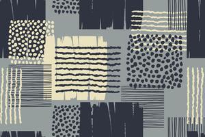 Modello senza cuciture geometrico astratto con texture disegnate a mano. vettore