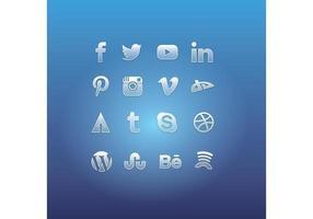 Vettori di icona sociale di vetro di media