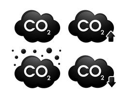 Icone 3D di gas cabondioxide. Illustrazione vettoriale