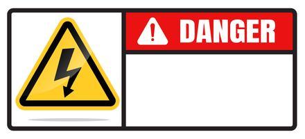Segnali di pericolo del segno di vettore del rischio di alto voltaggio isolato su un fondo bianco