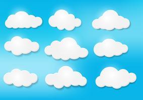 Nuvole nel cielo in varie forme. Luce e ombra rendono l'immagine bellissima. vettore