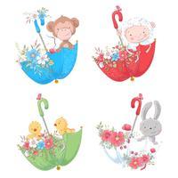 Metta la scimmia degli animali svegli del fumetto, i polli delle pecore e il coniglietto in ombrelli con i fiori per l'illustrazione dei bambini. Vettore