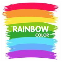 Pennello sul muro è un arcobaleno colorato. vettore
