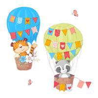 Insieme degli animali svegli del fumetto Leone e procione in un pallone con fiori e bandiere per l'illustrazione dei bambini. Vettore