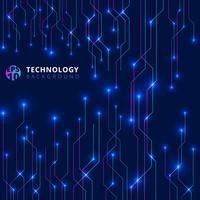 Linee astratte tecnologia con illuminazione bagliore futuristico su sfondo blu scuro.