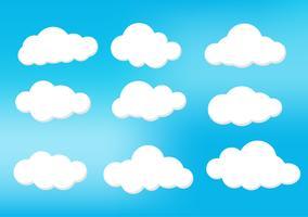 Nuvole nel cielo in varie forme. Luce e ombra rendono l'immagine bellissima. Può essere usato per una varietà di compiti. Il cartone animato, il design e molti altri. vettore