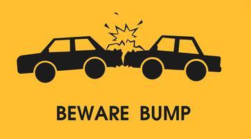 Attenzione urto. Segni per ridurre gli incidenti stradali. Illustrazione vettoriale