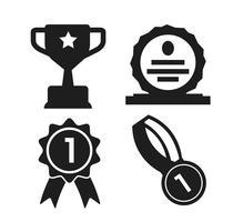 scudo, medaglia e trofeo Icona del vincitore della competizione vettore