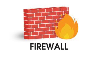 Icona del firewall di rete. Illustrazione vettoriale su sfondo bianco.