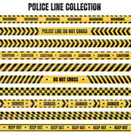 Nastro della polizia giallo e nero Per l'avvertimento di aree pericolose vettore